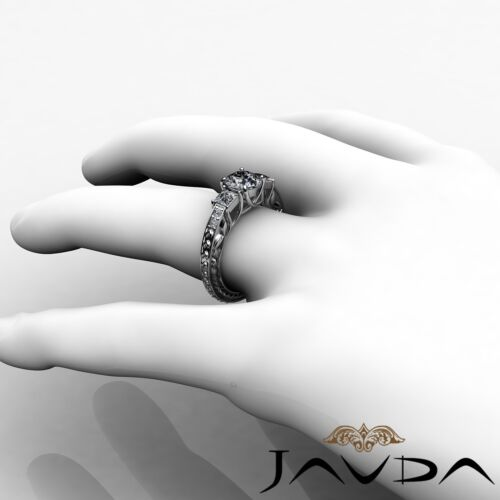 Platinum 1.4ct Round Diamond Trellis 3 Stone Engagement Filigree Ring GIA F VVS2 4