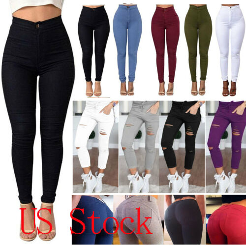 Leggings - Women Slim Denim Skinny Ripped Pants High Waist Stretch Jeans Pencil Trousers
