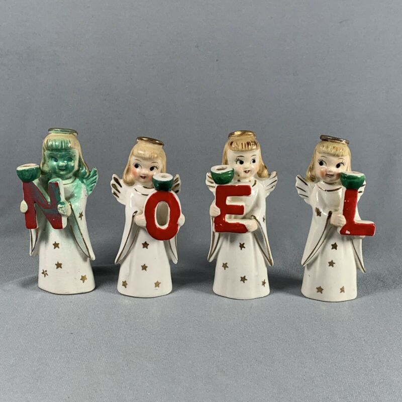 Vtg Commodore Japan Angel Figurines NOEL Letters Candle Holders Xmas