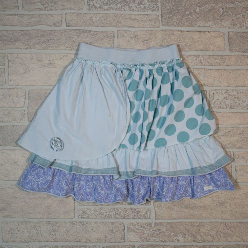 Naartjie Kids Girls 2XL 8 Years Blue Ruffled Polka Dot Paisley Elastic Skirt