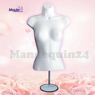 Female Torso Body Dress Form Mannequin White With Stand Hook For Hanging