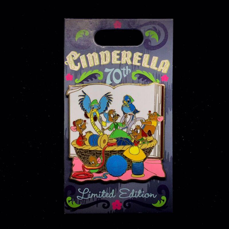 LE Cinderella 70 Anniversary Event Gus Jaq Mary Mice Blue Bird Sewing Disney Pin