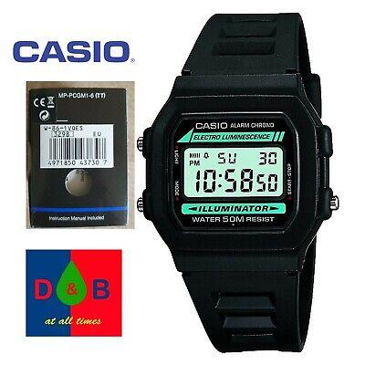 *BNIB* Casio W-86-1VQES Men's Boy's BLACK Casual Digital Resin Strap Alarm Watch
