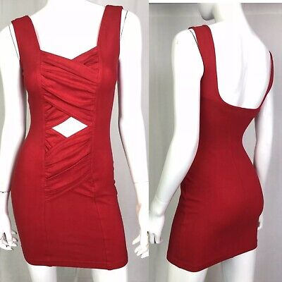Vintage 80's YES Clothing Women's Red Stretchy Bandage Bodycon Grunge Dress XS S - Womens 80s Clothes