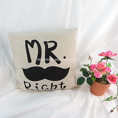 [US seller]Mr. Right mustache pillow cushion covers - Mustache Pillow