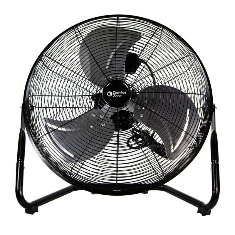 Comfort Zone 20-inch 3-Speed Floor Fan with 360-Degree Adjustable Tilt