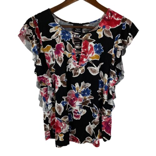 NWT Bobeau by Nordstrom Flowered Round neck Flutter Sleeve Stretch Top Sz M