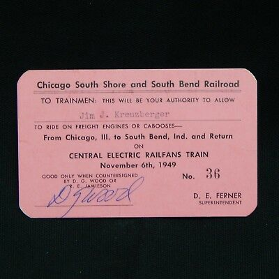 CHICAGO SOUTH SHORE AND SOUTH BEND RAILROAD TRAINMEN CARD 1949