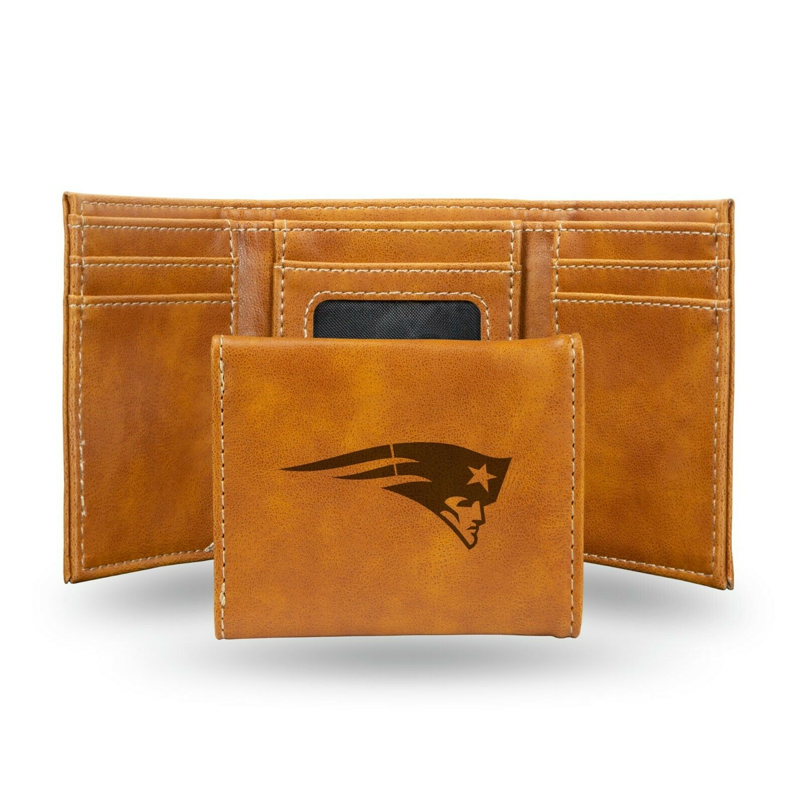 New England Patriots Brown Laser Engraved Synthetic Leather