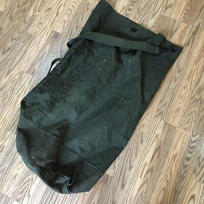 """Vintage US Army Duffle Bag Canvas Green Military Issue 37""""x22"""" 1950's Named"""