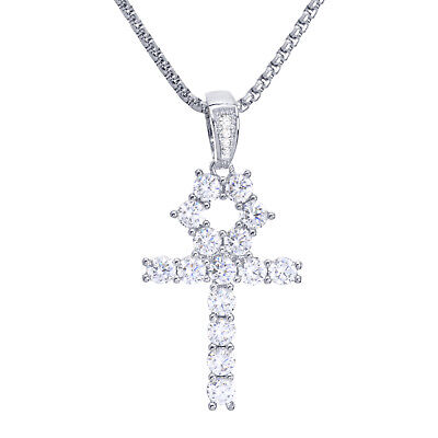 "Iced Silver Tone Ankh Cross & Stainless Steel 22"" Chain Necklace BSH 13108 S"
