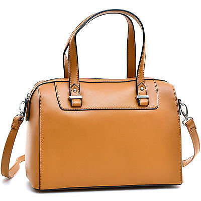 Women Handbag Barrel Body Faux Leather Satchel Totes Shoulder Boston Bag Purse Boston Tote Bag Purse