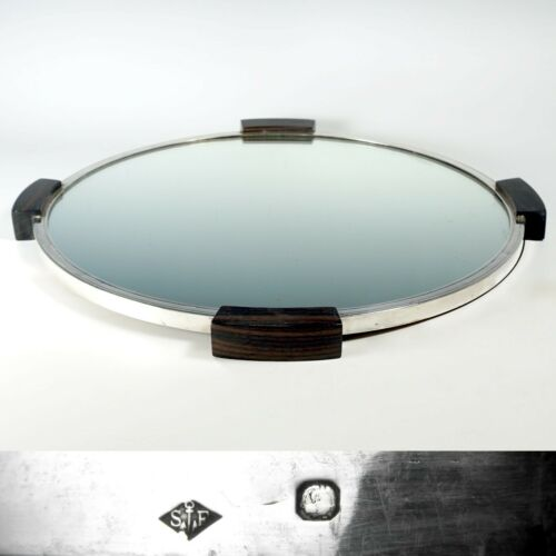 Art Deco French Sterling Silver Mirror Plateau Centerpiece, Rosewood