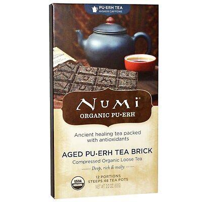 Numi Organic Tea Aged Pu-erh Tea Brick, 12 Portion Brick, 48 Servings 2.2 Ounce Aged Pu Erh Tea