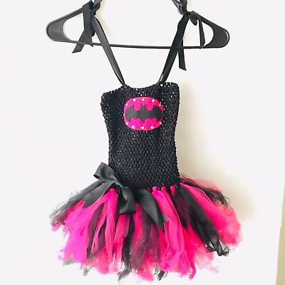 Batgirl Girl's Black Hot Pink Tutu Costume  Homemade Stretch Dance Tao Outfit (Homemade Dance Costumes)