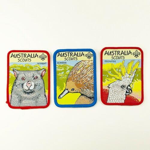 3pc Boy Scout Australia Scouts Echidna Cockatoo Wombat Patch 2 1/2  x 3 1/2-in h