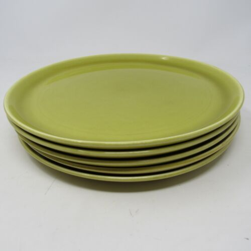 """Vintage 5 Chartreuse Russell Wright Steubenville American Modern Plates 10"""""""