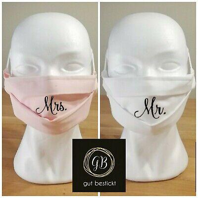2er Set Mundschutz mit Nasenbügel, Maske, Hochzeit, Mr. & Mrs., Mann & Frau