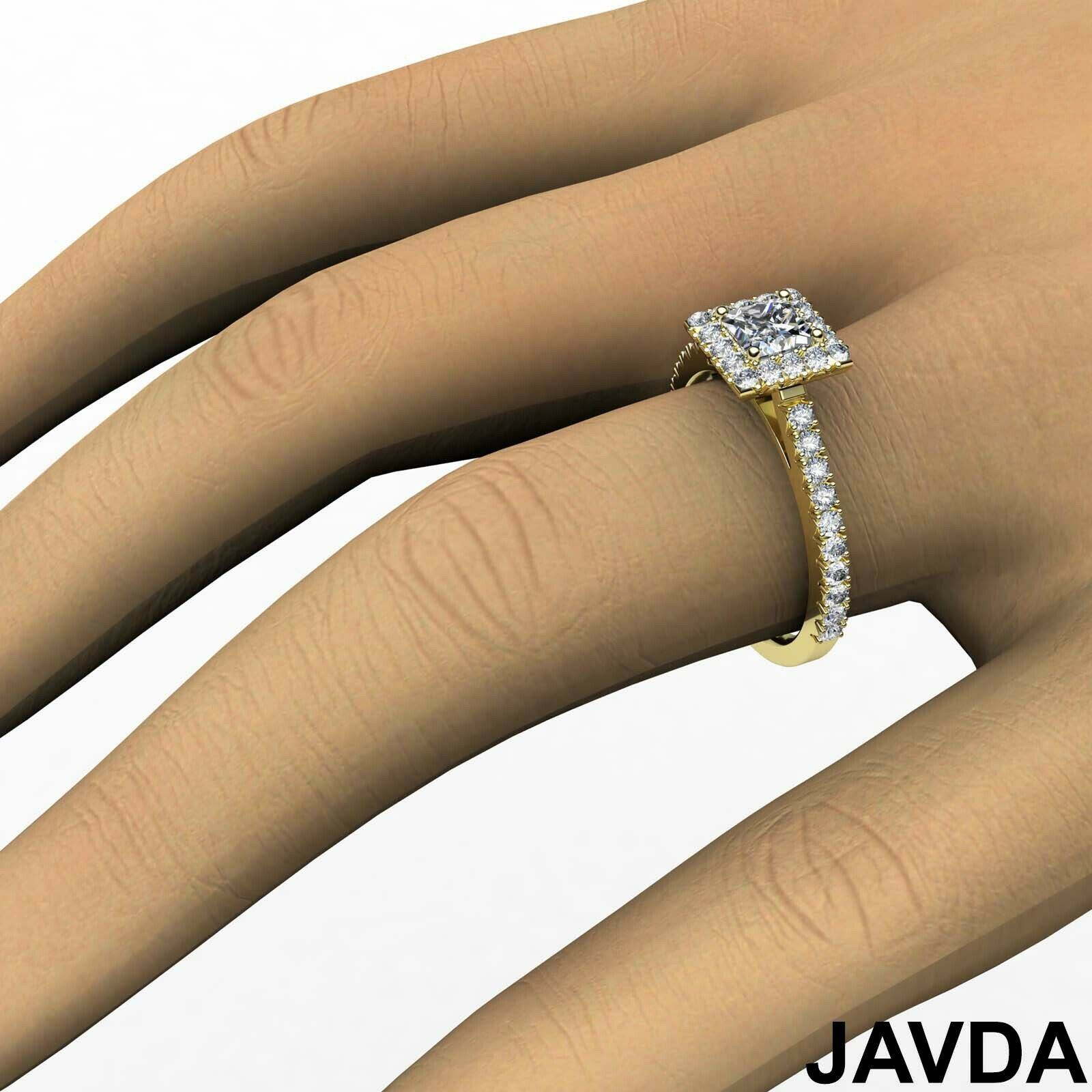 2.04ctw Halo French Pave Princess Diamond Engagement Ring GIA F-VS1 White Gold 7