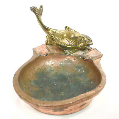 Rare Figural Vintage Pipe Stand Holder and Ash Tray Small Brass Fish Dish