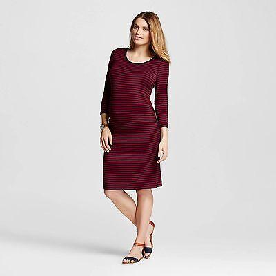 Liz Lange Maternity Dress Berry Blue Striped Large NWT