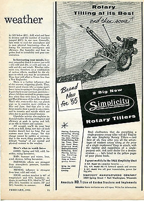 1955 Simplicity Rotary Tractor Tiller Print Ad Tilling At Its