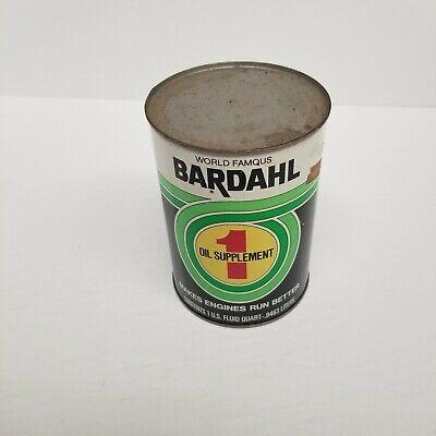 Vintage Bardahl Formula 1 Oil Supplement Quart Can, Full, Clean Label