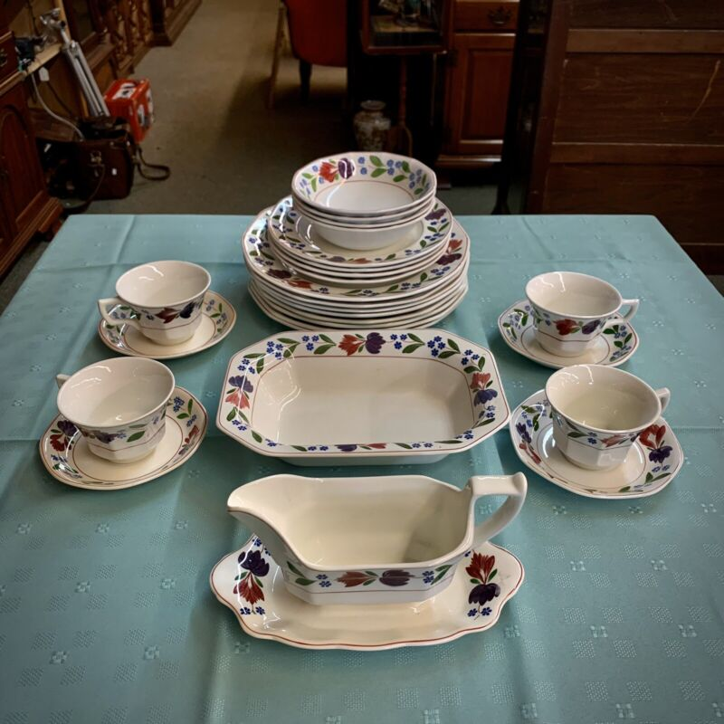 Lot Of 26pc Vintage Adams Ironstone Micratex Old Colonial Floral China, England