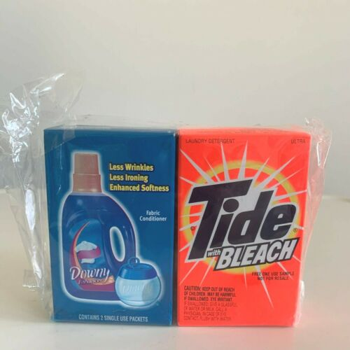 Vintage Tide w Bleach Laundry Detergent & Downy Fabric Conditioner Sample Size