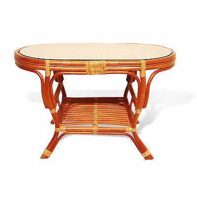 Coffee Oval Pelangi Table with Glass Top Natural Wicker Rattan, Cognac