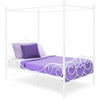 White Metal Canopy Bed - BCP Metal Canopy Twin Bed Frame w/ Slats- White