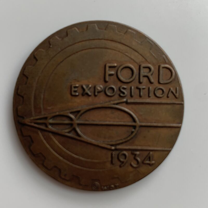 Vintage 1934 Ford V8 Bronze Century Of Progress Chicago Exposition Coin