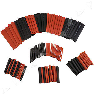 127pcs Black Red Heat Shrink Tubing Kit Wrap Wire Electrical Sleeving Tube Uk