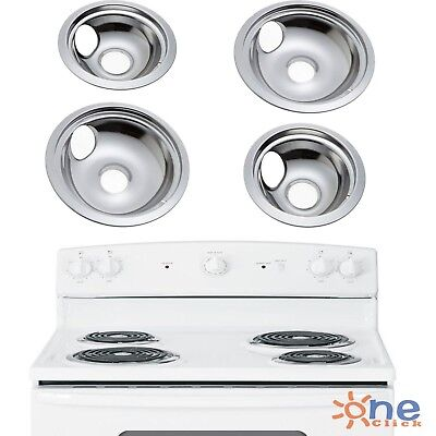 Ge Pan - GE Hotpoint Chrome Stove Drip Pans Electric Burner Covers 4 Top Replacement Set