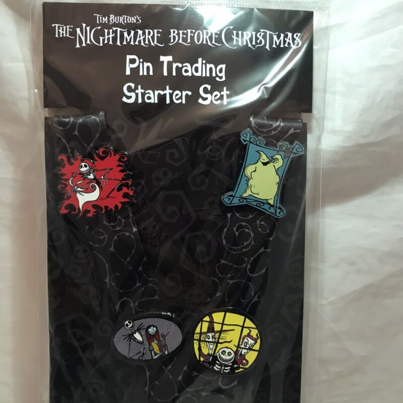 Disney Parks The Nightmare Before Christmas 4-Pin Starter Pack Lanyard Set New