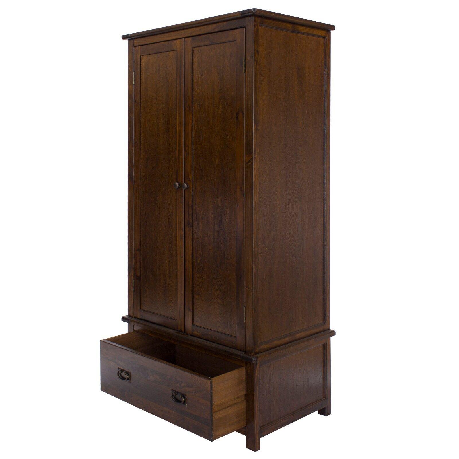 Baltia Dark Wood 2 Door 1 Drawer Wardrobe Solid Wood Bedroom Hanging Rail Ebay