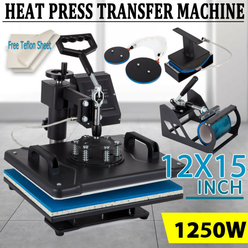 5 in 1 Heat Press Machine Digital Swing Away Sublimation T-shirt Mug Plate Hat