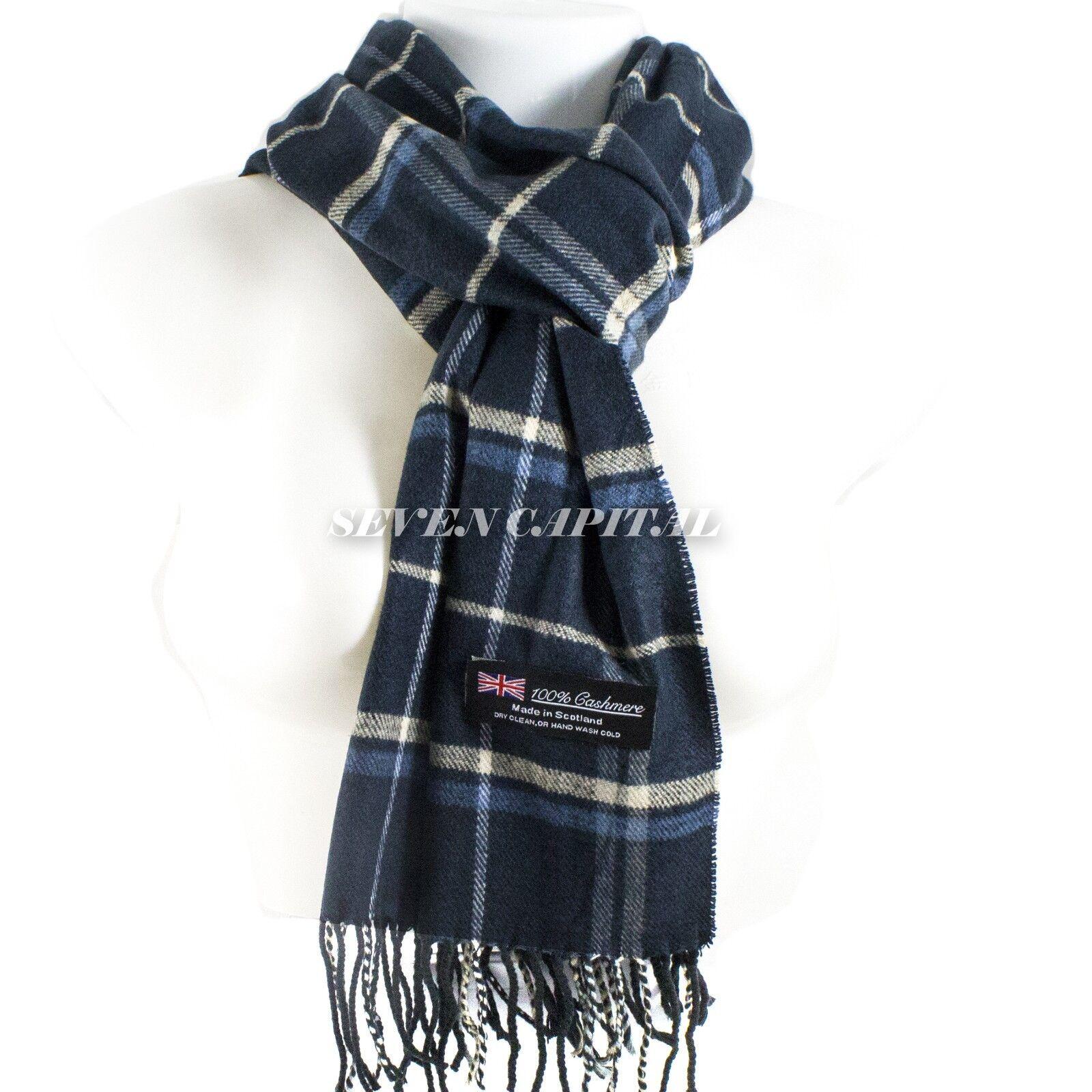 Mens Womens Winter Warm SCOTLAND Made 100% CASHMERE Scarf Scarves Plaid Wool 20. Plaid: Navy/Beige/White