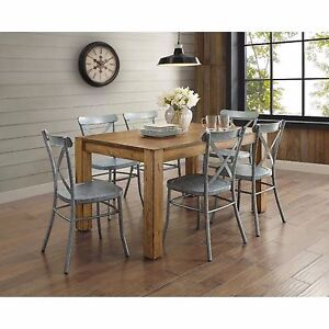 Silver Rustic Metal Dining Chair Industrial Farmhouse Sturdy Modern New Set  Of 2