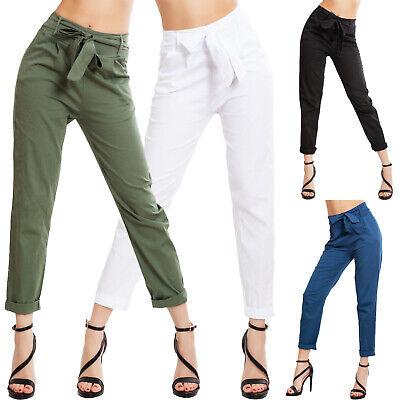 Pantaloni donna eleganti fiocco vita alta risvoltino tasche sexy TOOCOOL VB-9038