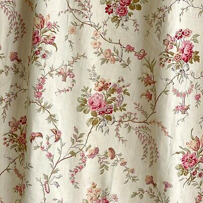 Vintage Floral Curtain Panel Pleated Top Grey Pink Blue White Green Yellow Lined  Repurpose Linens Soft Muted Pastels  40 inches x 65 inches