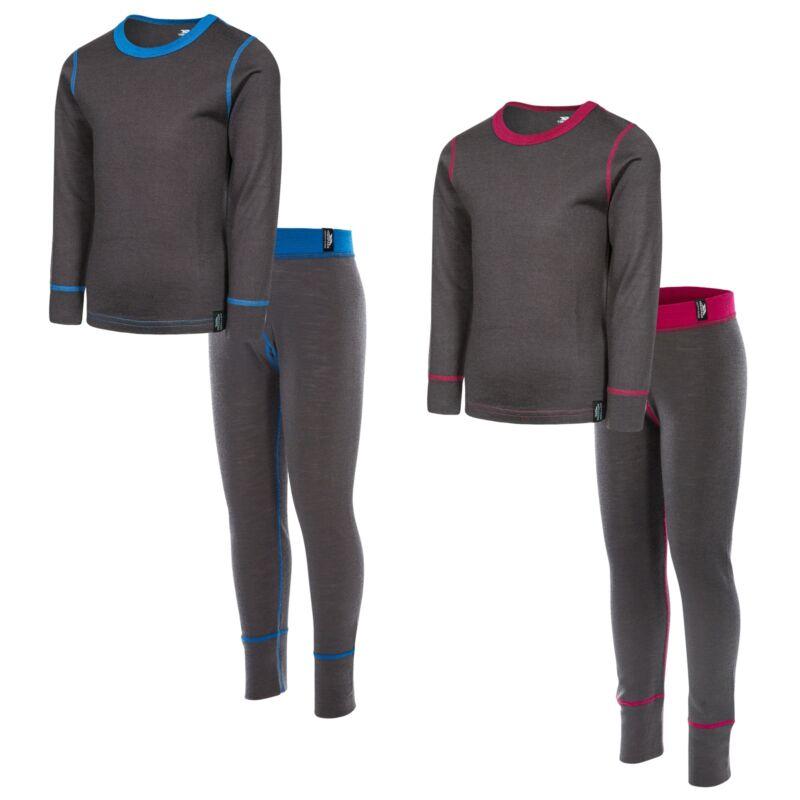 Trespass Bamba Boys Girls Thermal Base Layer Set Long Sleeve Top & Trousers