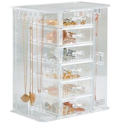 Beautify Clear Acrylic Jewelry Organizer Storage Box with 6 Drawers