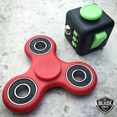 Fidget Cube + Hand Spinner COMBO Anxiety Stress Relief Focus Desk Toy Gift SET