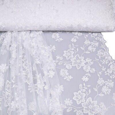 NEU Spitzenstoff,bestickt ,Tüll,Meterware,Hochzeit,Brautkleid, weiß