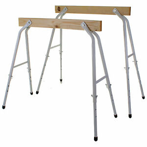 SAW HORSES WITH TELESCOPIC LEGS WOOD BOARD STEEL FRAME TRESTLE STANDS CARPENTRY