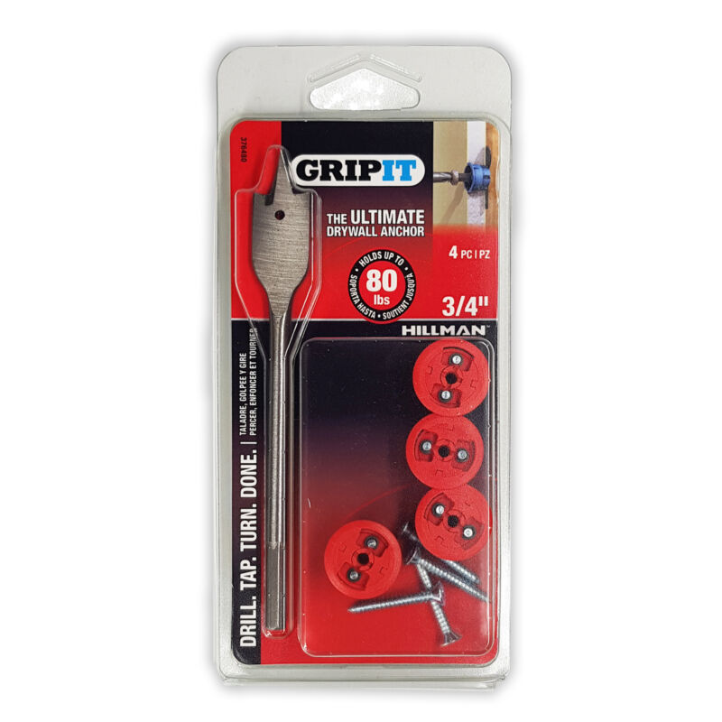 "GripIt Drywall Anchor Red 3/4"" 4ct"