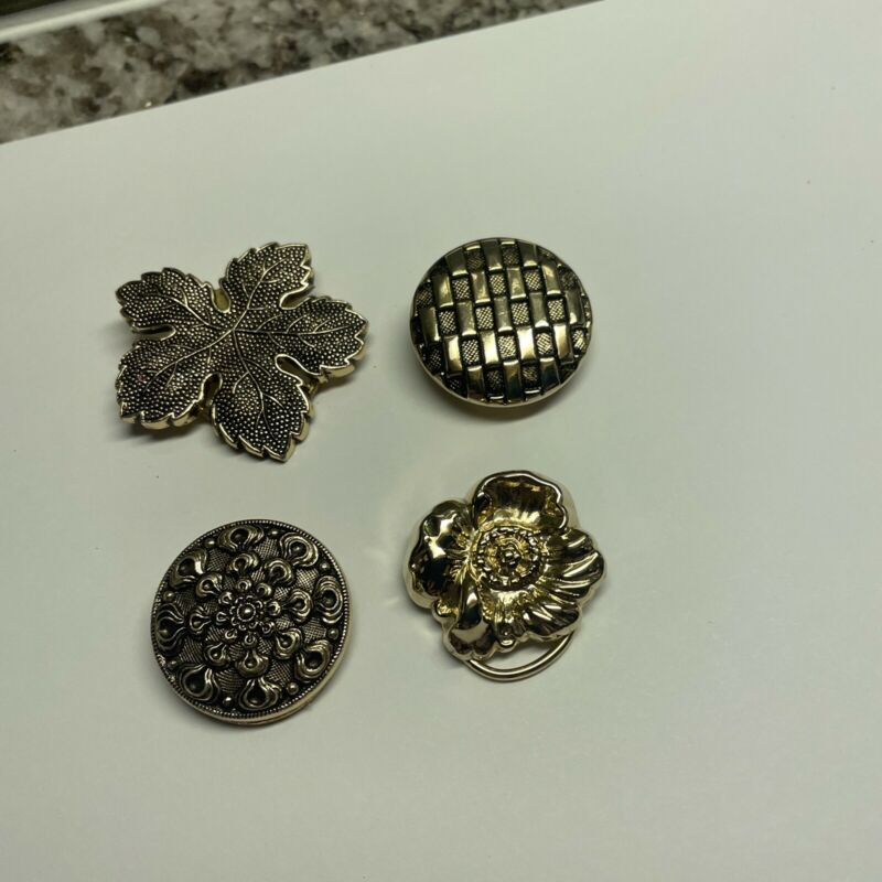 Lot Of 4 Vintage - Modern Scarf Clips Gold Tone 2 Signed W. Germany