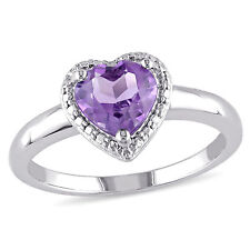 Sterling Silver Amethyst Heart Ring