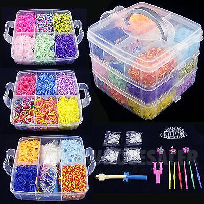 4800 PCS Colorful Rainbow Rubber Loom Bands Bracelet Making Kit Set Fun DIY